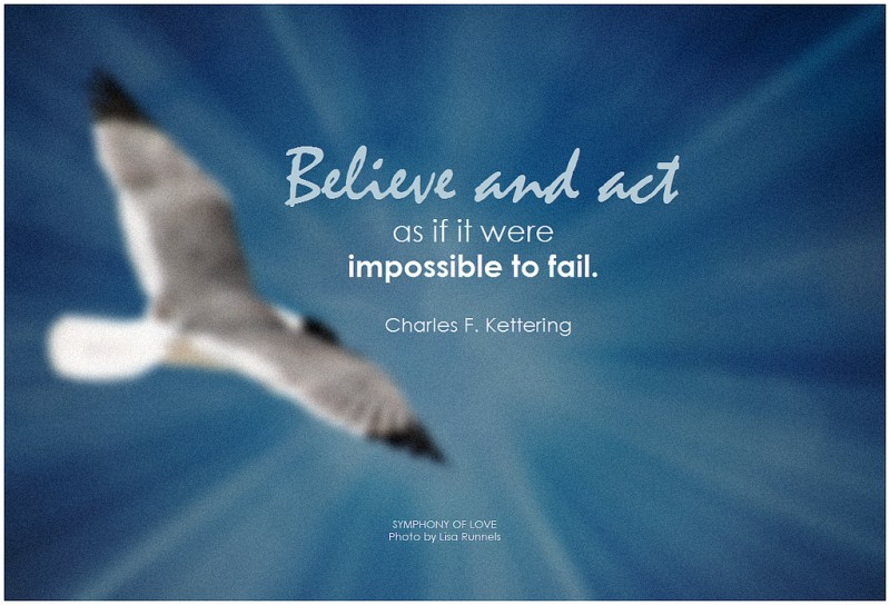 """""""Believe and act as if it were impossible to fail."""" Charles F. Kettering"""