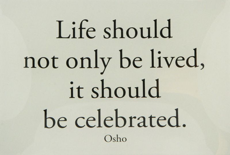 """""""Life should not only be lived, it should be celebrated."""" Osho"""