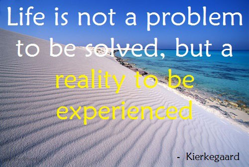 """Life is not a problem to be solved, but a reality to be experienced."" Soren Kierkegaard"